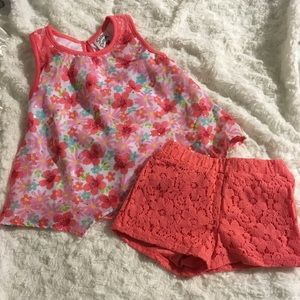 Satin Flowers Tank Top and Short Outfit